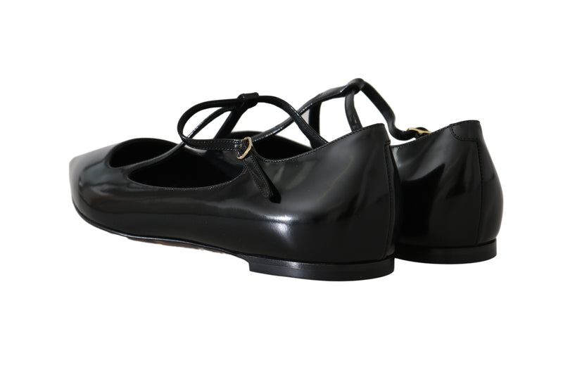 Black Leather Leopard Ballet Flats