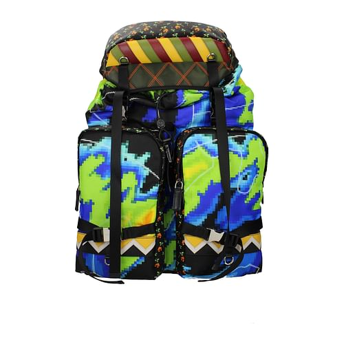 Multicolor Men Backpack and Bumbag