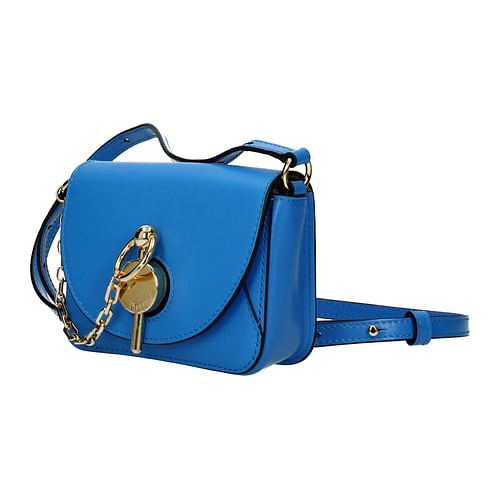 Blue Leather Corssbody Bag