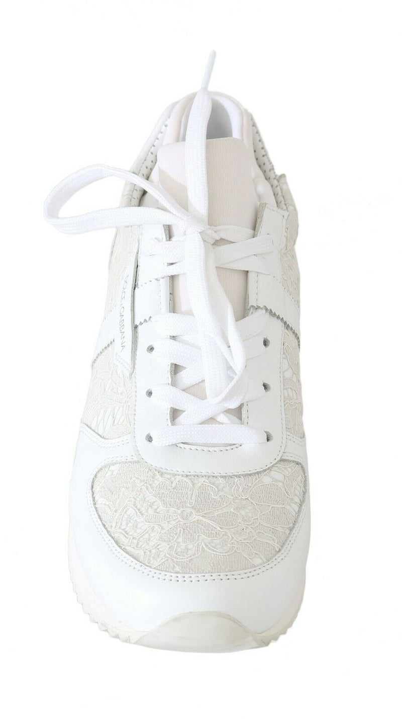 White Floral Lace Leather Sneakers