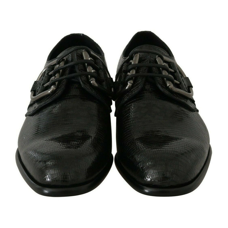 Black Leather Buckle Laceups Derby Shoes