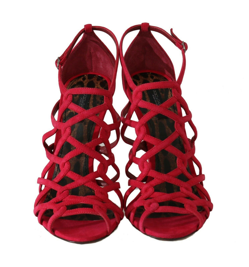 Shoes Stilettos Red Suede Strap Sandals