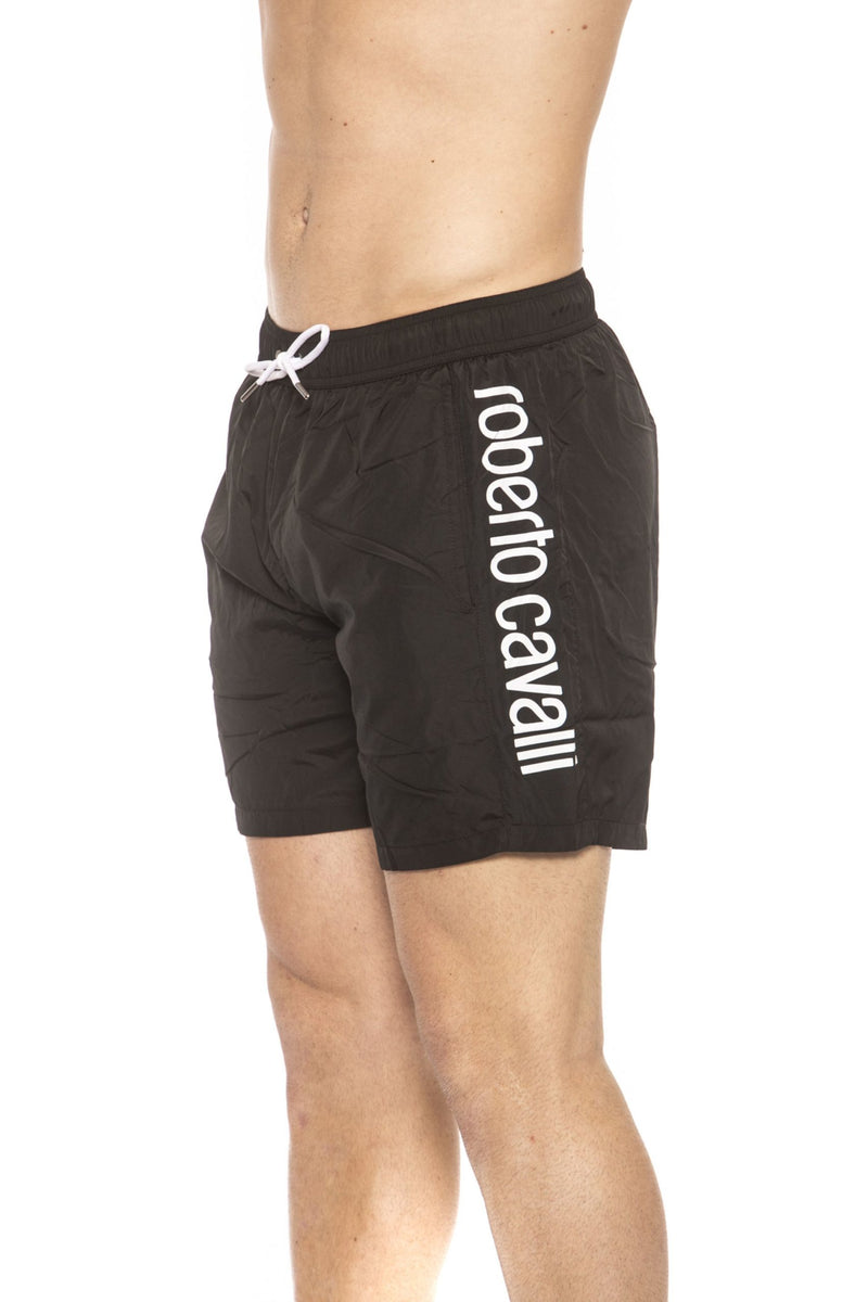 Black Beachwear Boxer With Pockets. Side Logo Print. Internal Net. Back Pocket