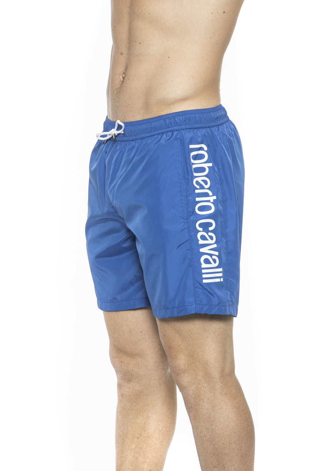 Blue Beachwear Boxer With Pockets. Side Logo Print. Internal Net. Back Pocket