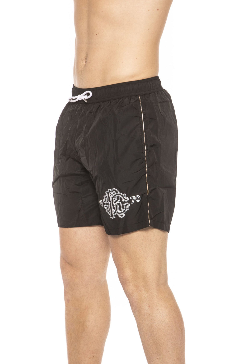 Black Beachwear Boxer With Pockets. Front Logo Print. Internal Net. Back Pocket. Spotted Edges.