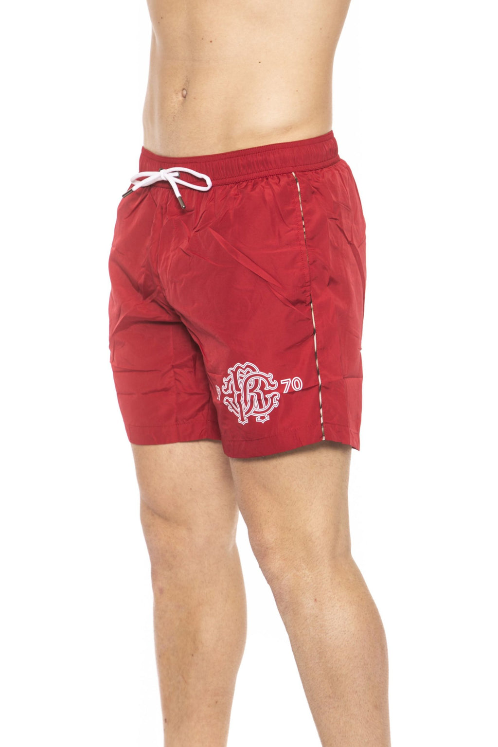 Red Beachwear Boxer With Pockets. Front Logo Print. Internal Net. Back Pocket. Spotted Edges.