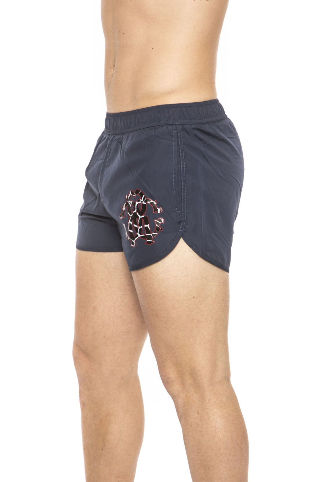 Blue Short Beachwear Boxer With Pockets. Front Logo Print. Internal Net. Back Pocket.