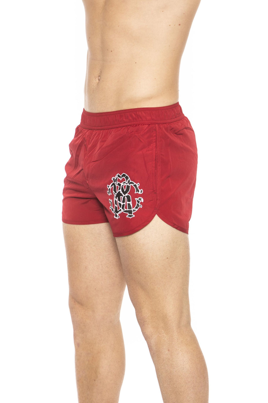 Red Short Beachwear Boxer With Pockets. Front Logo Print. Internal Net. Back Pocket.