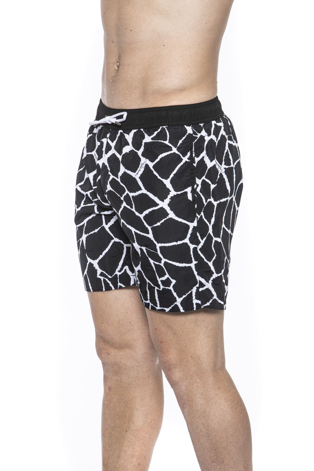 Black Beachwear Boxer With Pockets. Giraffe Print. Internal Net. Back Pocket With Logo.