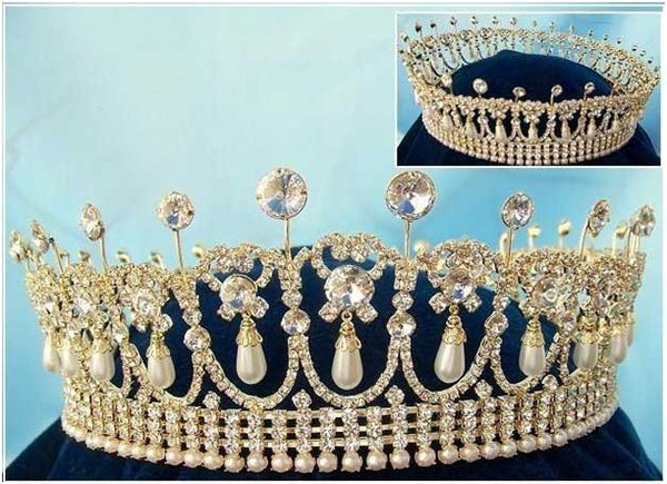 Princess Diana Cambridge Lover's Knot Full Round Crown - Gold tone