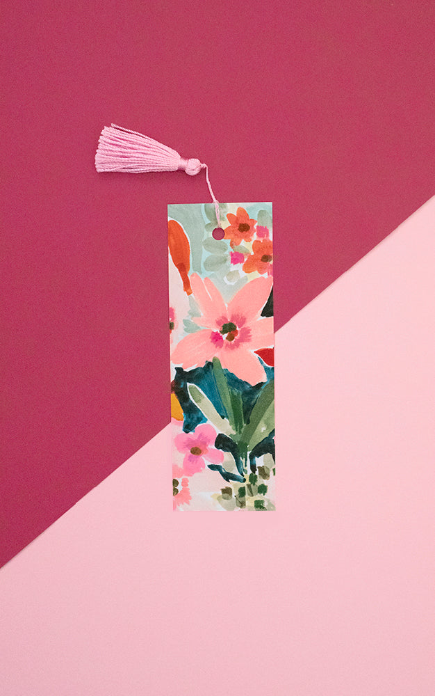 Floral Black Bookmark