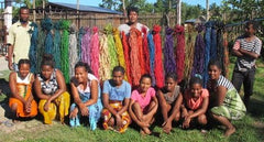 picture of team with colorful raffia