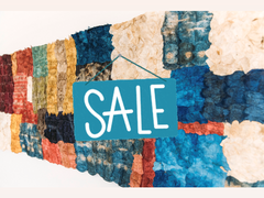 """multicolor mosaic wild cocoon silk textile with """"sale"""" graphic overlayed"""