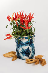 single wild cocoon silk basket with ornamental pepper and cocoons