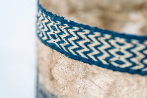 Striped Motif Non-Woven Cocoon Silk Basket Family With Raffia Trim Blue & Natural