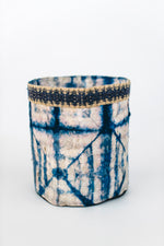 Load image into Gallery viewer, Square Motif Non-Woven Cocoon Silk Basket Family With Raffia Trim White & Blue