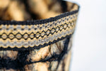 Load image into Gallery viewer, Hexagon Motif Clamp-Dyed Non-Woven Cocoon Silk Basket with Raffia Trim Black and Gold