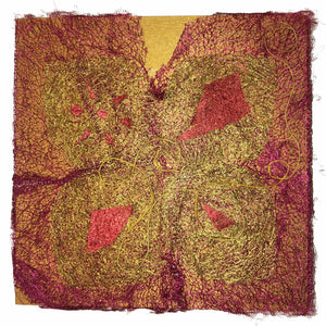 "Square Collage Wall Art of Wild Cocoon Silk Madagascar (6"" x 6"")"