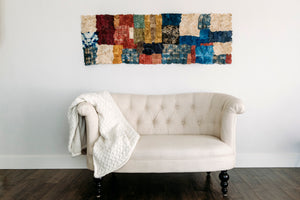 "Mosaic Panel of Non-Woven Wild Gathered Cocoon Silk Madagascar Large (24"" x 64"") -  MORE ON THE WAY!"
