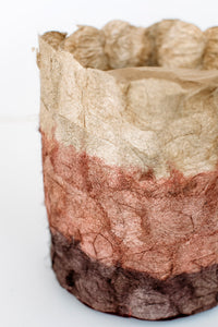 Rose Gold & Natural Cocoon-Silk Basket, untrimmed