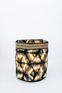 Hexagon Motif Clamp-Dyed Non-Woven Cocoon Silk Basket Family With Raffia Trim Black & Gold