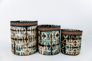 Blue & Black Cocoon Silk Baskets