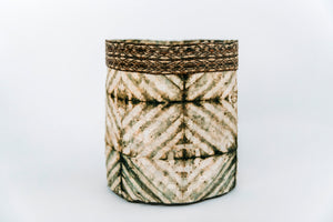 Stick Design Non-Woven Cocoon Silk Basket With Raffia Trim Green & Natural