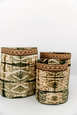 Load image into Gallery viewer, Stick Design Non-Woven Cocoon Silk Basket With Raffia Trim Green & Natural