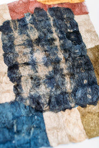 "Mosaic Shibori Panel of Non-Woven Wild Gathered Cocoon Silk Madagascar (12"" x 18"")"