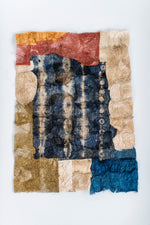 "Load image into Gallery viewer, Mosaic Shibori Panel of Non-Woven Wild Gathered Cocoon Silk Madagascar (12"" x 18"")"