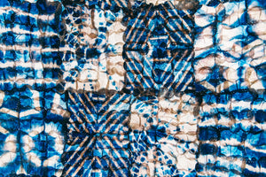 "Shibori mosaic blue and white 18""x 24"""