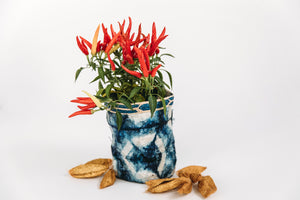 Hexagon Motif Clamp-Dyed Non-Woven Cocoon Silk Basket Family With Raffia Trim Blue & White