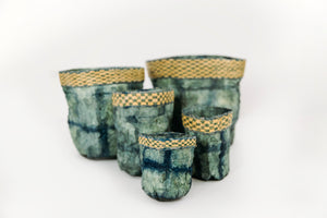 Square Motif Non-Woven Cocoon Silk Basket Family With Raffia Trim Teal
