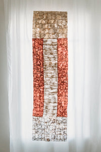 "Non-Woven Wild Cocoon Silk Panel Rose and Natural Handmade in Madagascar (14""x72"")"