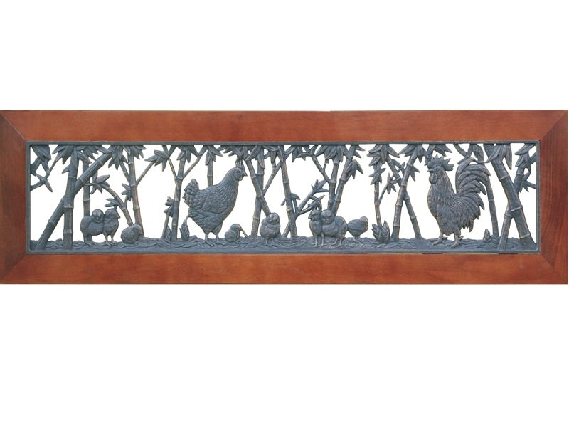 Chickens Wood Framed Coat Rack