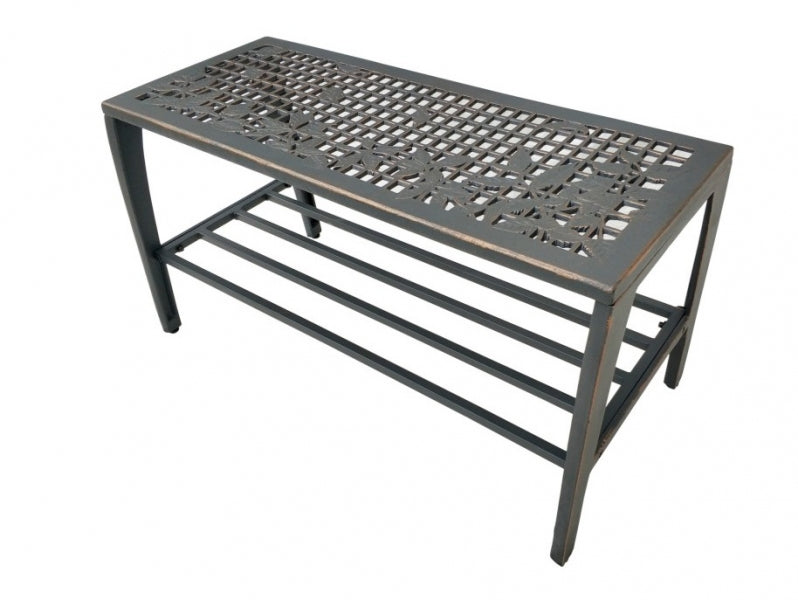 Leaves Tube Steel Cast Iron Entrance Bench