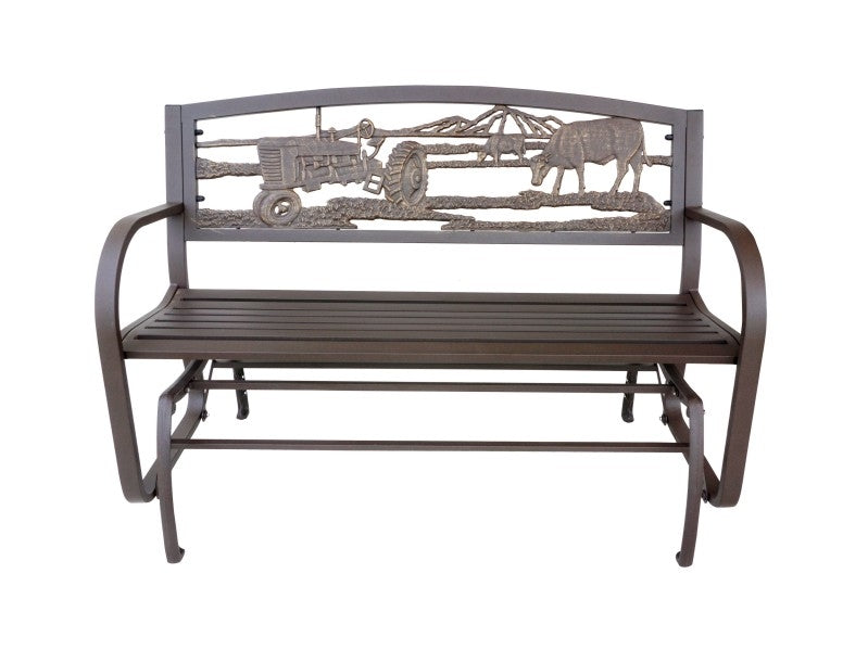 Farm Scene Tube Steel Cast Iron Glider Bench