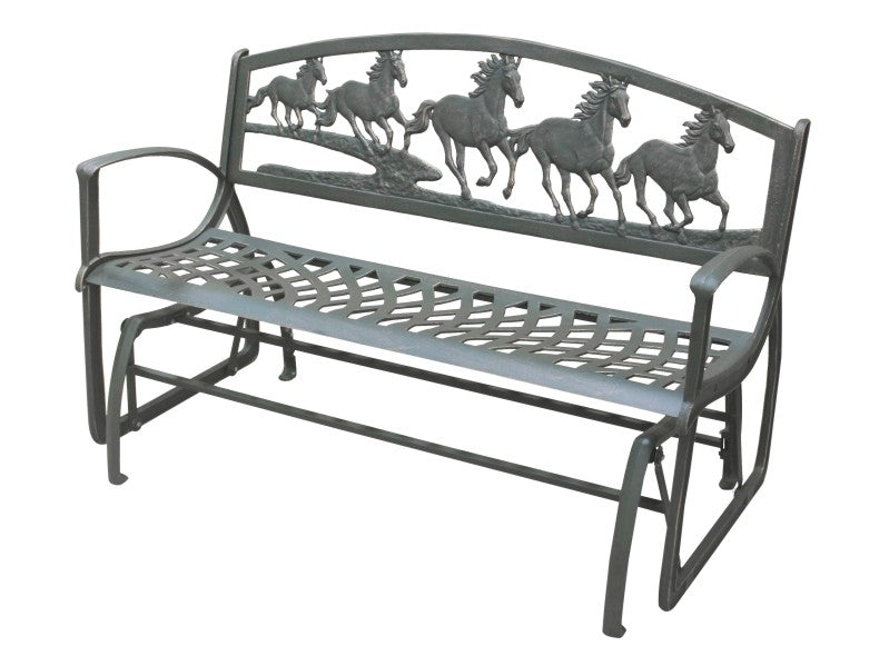 Running Horses Cast Iron Glider Bench