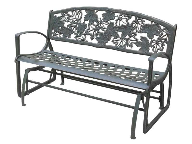 Maple Leaf Cast Iron Glider Bench