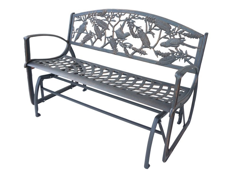 Rosella with Bottle Brush Cast Iron Glider Bench