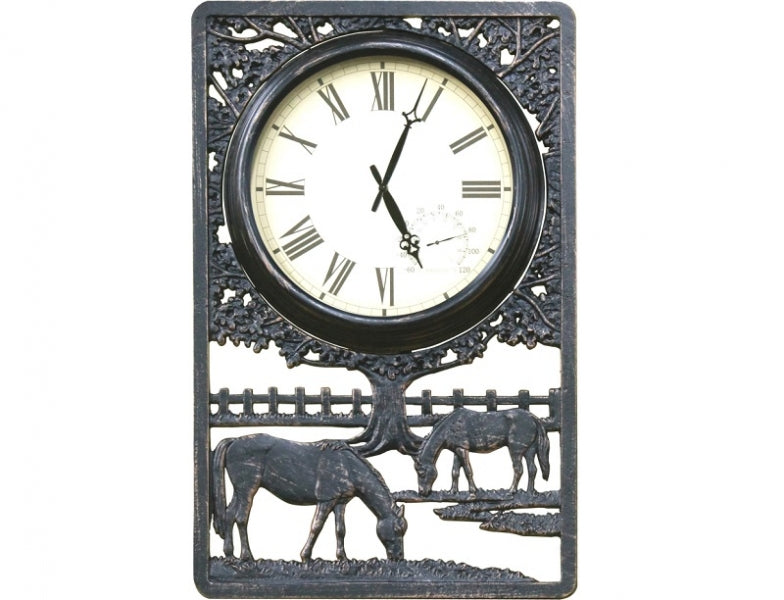 Horses Cast Aluminium Outdoor Clock with Thermometer