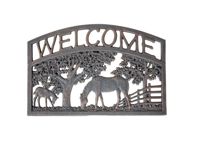 Horses Cast Aluminium Welcome Sign