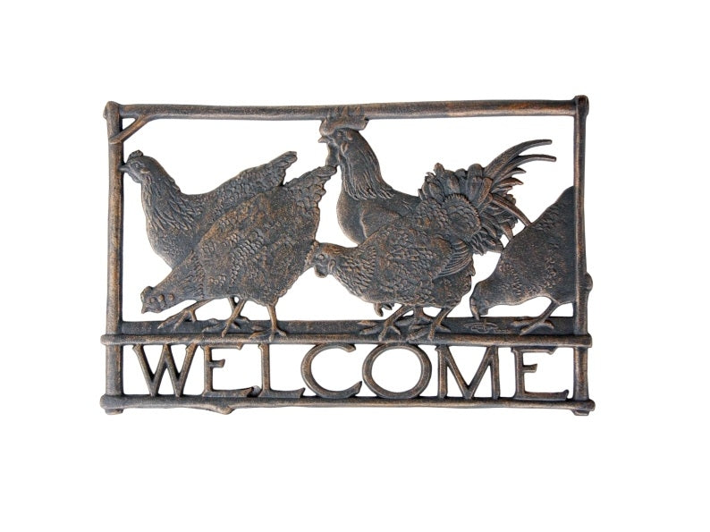 Rooster Cast Aluminium Welcome Sign