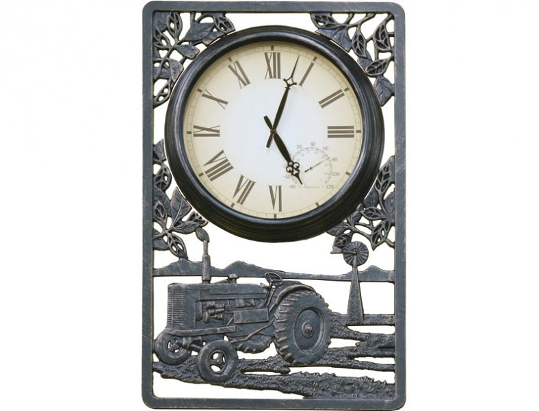 Tractor Cast Aluminium Outdoor Clock with Thermometer
