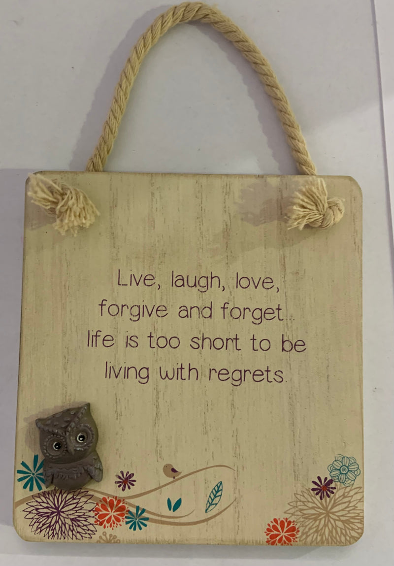 Tiny Owl Sign Live Laugh Love