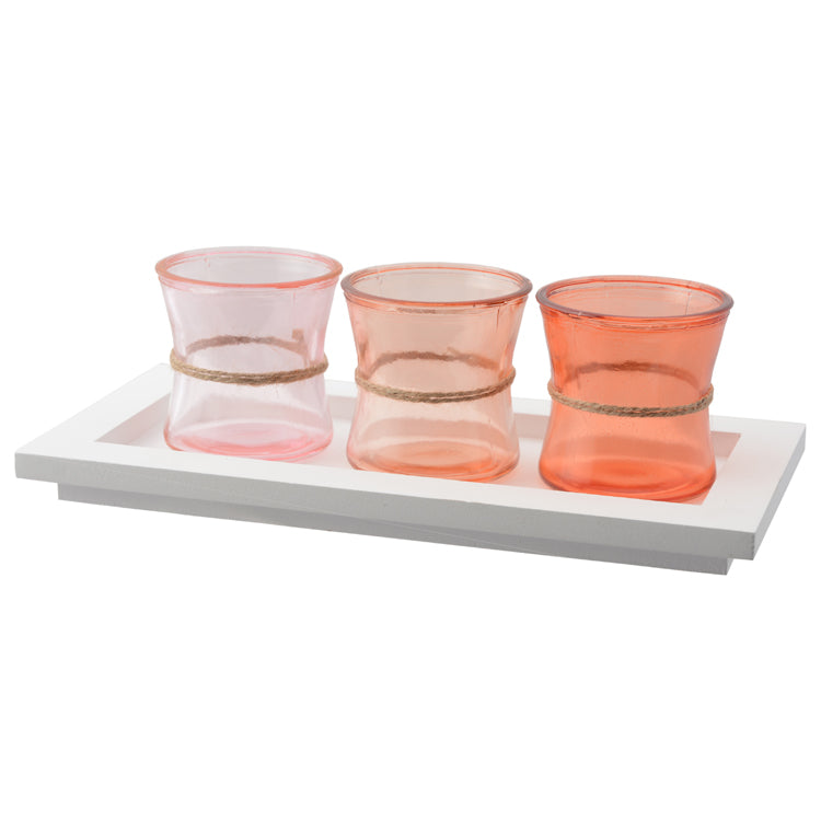 Mia Set of 3 Votives on Tray Orange