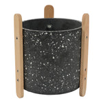 Terrazzo Pot with Stand 19x23cm Dark Grey