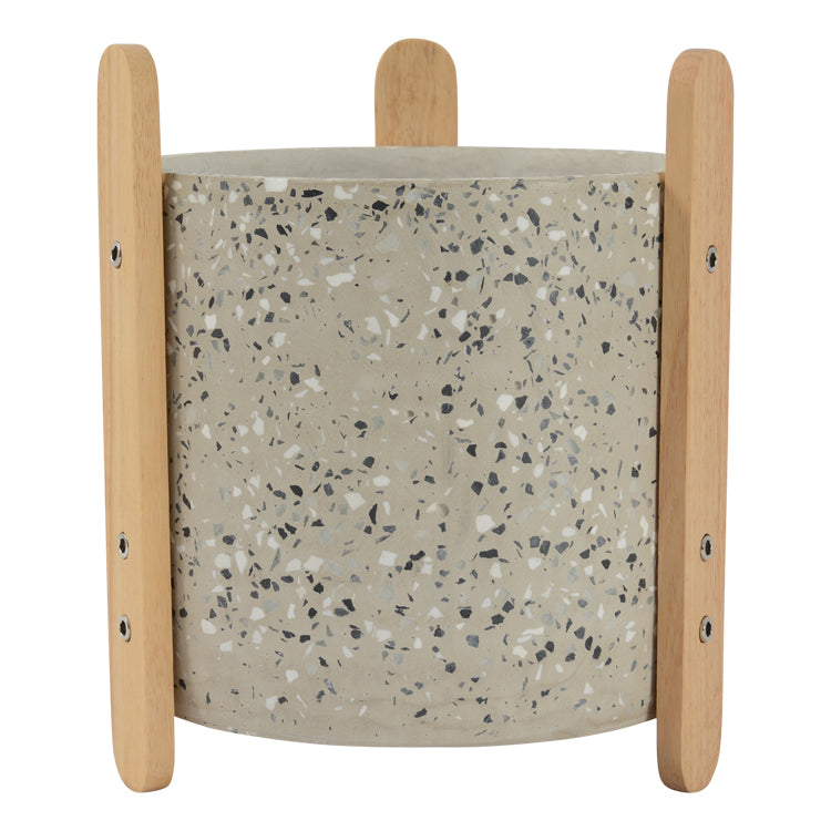 Terrazzo Pot with Stand 15x17.5cm Light Grey