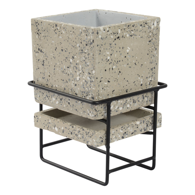 Terrazzo Planter Pot with Stand 16.5 x 24.3cm Light Grey