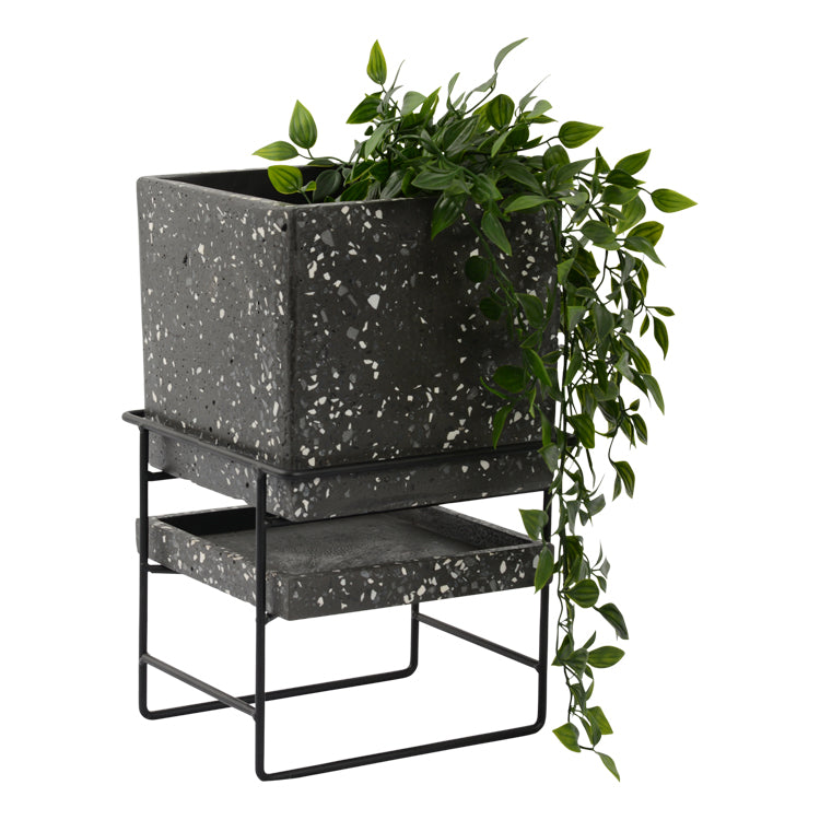 Terrazzo Planter Pot with Stand 20 x 32.7cm Dark Grey